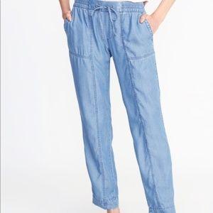 OLD NAVY chambray stretch waist pants Z12